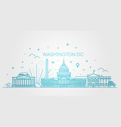 washington usa skyline and landmarks silhouette vector image