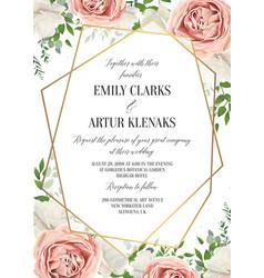 wedding floral invite invitation card design vector image