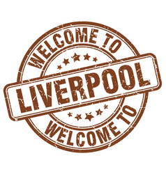 Welcome to liverpool brown round vintage stamp vector