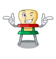 Wink cartoon baby highchair for kids feeding vector