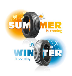 Winter and summer are coming for car tires vector
