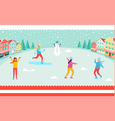 Wintertime and skiing people vector