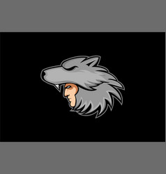 Wolf slayer logo mascot vector