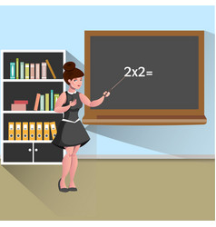 young female teacher in classroom vector image