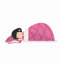 young girl sleeping with pillow and blanket vector image