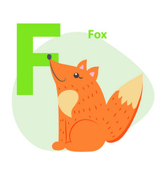 zoo abc letter with cute fox cartoon vector image
