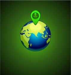 green earth with a pins location person vector image vector image