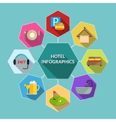 Hotel flat infographics vector image