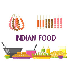 indian food restaurant colorful showcase vector image