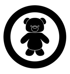 little bear black icon in circle isolated vector image