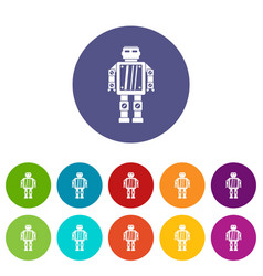 Robot icons set flat vector