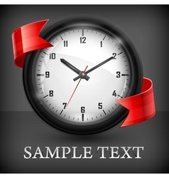 Round clock with ribbon on vector image