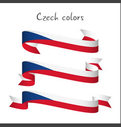 set of three ribbon with the czech tricolors vector image vector image