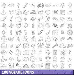 100 voyage icons set outline style vector image
