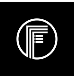 F capital letter of three white stripes enclosed vector