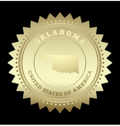 Gold star label Oklahoma vector image vector image