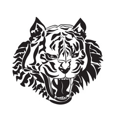 line art of tiger head on white background vector image