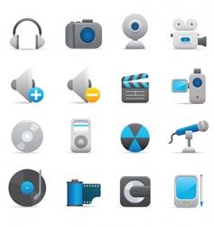 multimedia icons indigo vector image