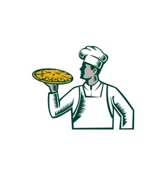 Pizza chef holding pizza woodcut vector