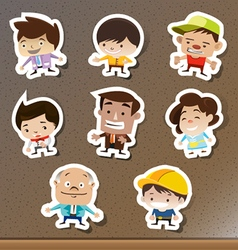 Set of cartoon stickers on the board vector image vector image