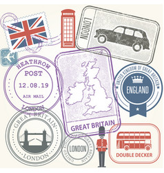 travel stamps set - great britain and england vector image vector image