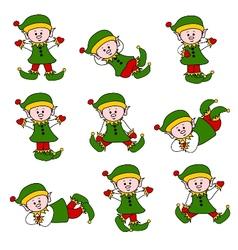 xmas cute elf set vector image vector image