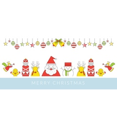 Christmas Character Line Style and Ornament vector image vector image