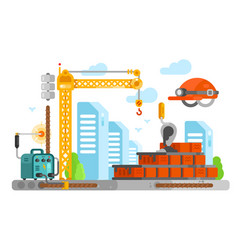 construction site design with bricks vector image