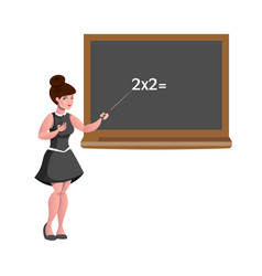 female teacher with blackboard isolated vector image vector image