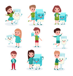 happy boys and girls playing with humanized boxes vector image vector image