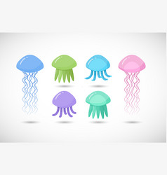 jellyfish flat icon set vector image vector image