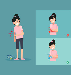 right and wrong ways of using cold and heat packs vector image