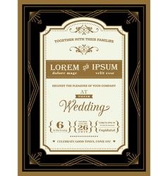 Vintage Wedding invitation border and frame vector image vector image