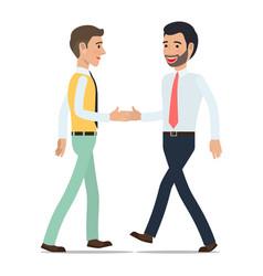 businessmen shaking hands at meeting flat vector image