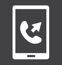 outgoing call solid icon contact us and website vector image vector image
