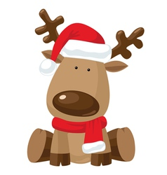Reindeer child in Christmas red hat vector image vector image