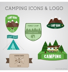 Set of outdoor adventure badges and campsite logo vector image
