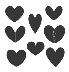 Set with Heart Icons vector image vector image