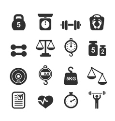 Weight icon set - scales weighing and balance vector image vector image