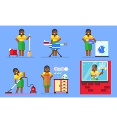 Woman washing and cleaning Household series vector image vector image