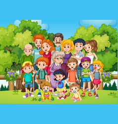 a big family at garden vector image