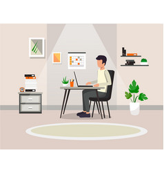 a man is working at a computer in his office vector image