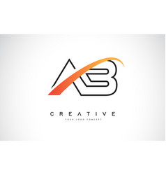 Ab a b swoosh letter logo design with modern vector