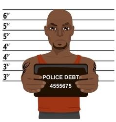 African american criminal holding mugshot vector
