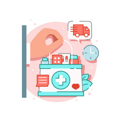 Aid box delivery composition vector