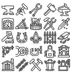 Anvil icons set outline style vector