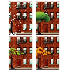 Apartment building in four seasons vector image