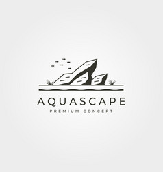 Aquascape aquarium logo vintage symbol design vector