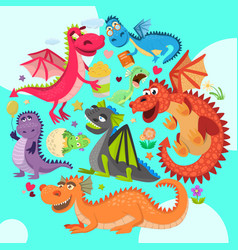 baby dragons round pattern vector image