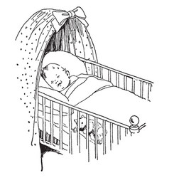 Baby in crib sleeping with a teddy bear vintage vector